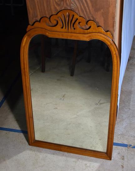 Vintage Wooden Frame Wall Mirror, Scroll Top Detail