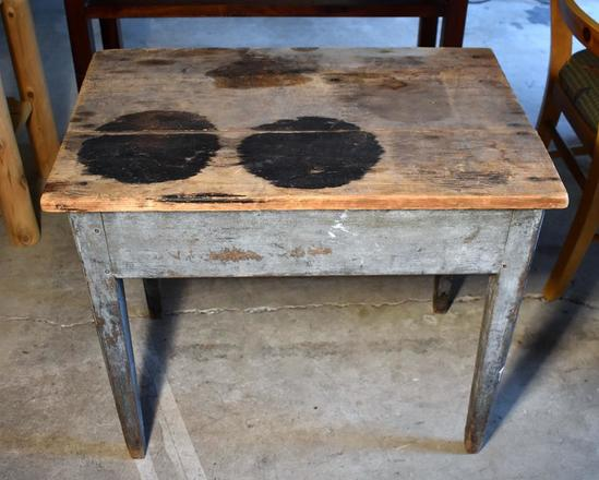 Antique Primitive Pine Work Table, Distressed Grey Paint on Base