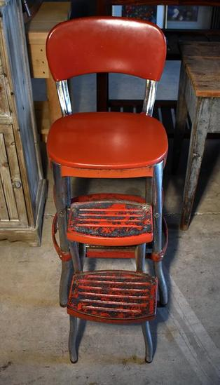 Vintage Red Cosco Step Stool Kitchen Chair, Original Paint, Padded Seat & Back