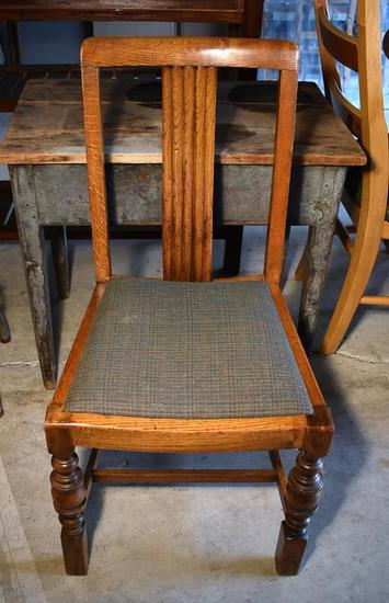 Vintage Oak Side Dining Chair, Solid Back Splat, Upholstered Seat