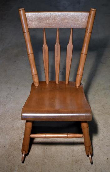 Vintage (1938) Maple Child's Rocker / Rocking Chair, Craftsman's Initials & Date Under Seat