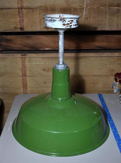 Vintage Green Enameled Metal Hanging Light Fixture