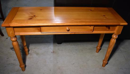 Contemporary Pine Console Table / Sofa Table, One Middle Drawer