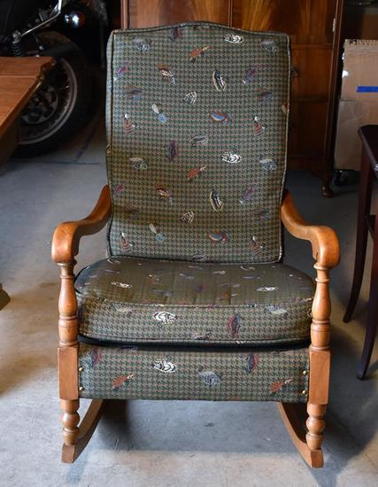 Oak Rocking Chair / Rocker, Houndstooth & Fishing Lure Upholstery