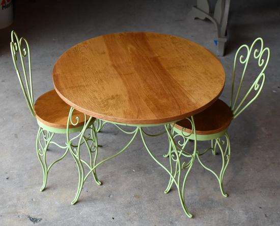 Child's Cafe Table and Two Chairs Set, Wood / Green Painted Wrought Iron