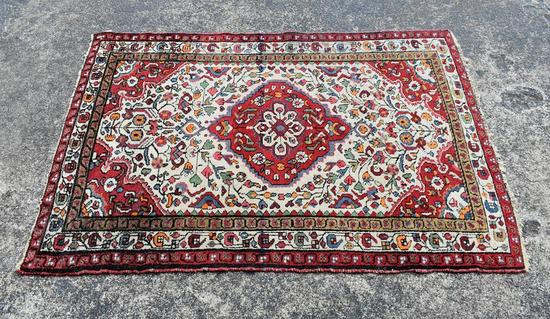 Vintage Red & Ivory 3.5 x 5' Hand Knotted Wool Persian Rug