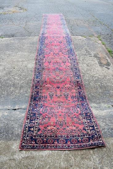 Vintage Red & Blue 3 x 20.5' Hand Knotted Wool Persian Runner