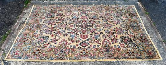 Vintage Ivory, Red & Blue 7 x 10' Hand Knotted Wool Persian Rug