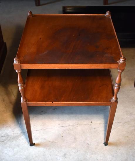 Vintage Mahogany Side Table with Caster Feet