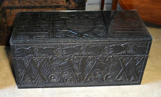 Vintage Black Handcrafted Haitian Trunk with Glass Cover