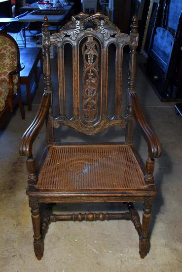 Antique 19th C. Carved Renaissance Revival Chair, Caned Seat