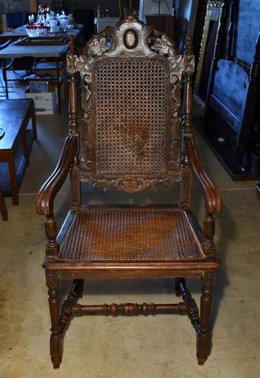 Antique 19th C. Carved Renaissance Revival Chair, Caned Seat & Back
