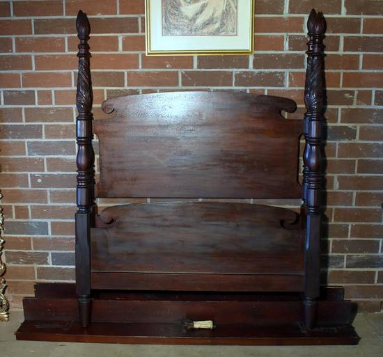 Antique 19th C. Carved Greek Revival Mahogany 4 Poster Bed