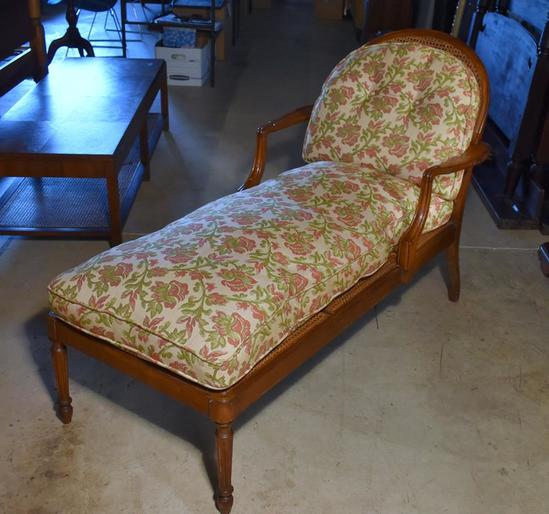 Vintage Walnut Chaise Lounge, Caned Seat & Back, Down Filled Floral Cushions