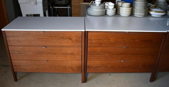Pair of Vintage Mid-Century Florence Knoll Dressers in Walnut