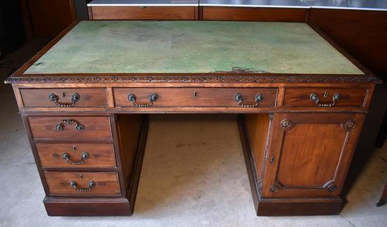 Antique Ca. 19th C. Partners Desk with Green Top Blotter, Caster Feet
