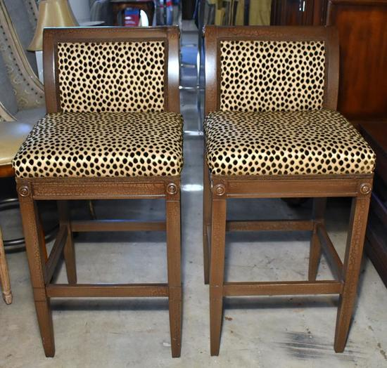 Pair of F. Schumacher Faux Cheetah Upholstered Bar Height Chairs