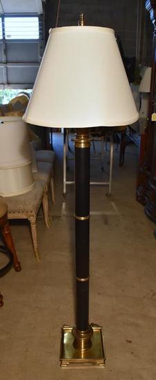 Fine Frederick Cooper Traditional Brass & Black Columnar Floor Lamp