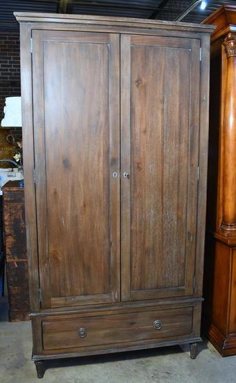 Restoration Hardware Contemporary Antiqued Finish Wardrobe / Media Cabinet