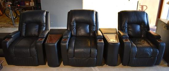 Set of 3 Okin Black Bonded Leather Power Recliner Theater Seats with 2 Middle Consoles