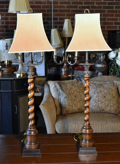 Attractive Pair of Barley Twist Wood Candlestick Form Lamps