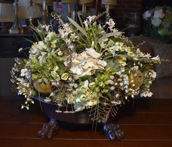 Stunning (Large) Fruit & Floral Arrangement in Bronzed Finish Paw Footed Metal Jardiniere
