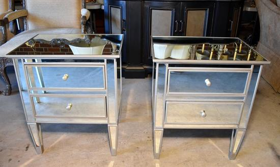 Pair of Pottery Barn Mirrored Finish End Tables