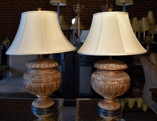 Pair of Contemporary Urn Form Table Lamps