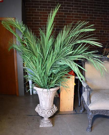 Lion's Head Design Large Plaster Material Planter Urn with Palm Fronds