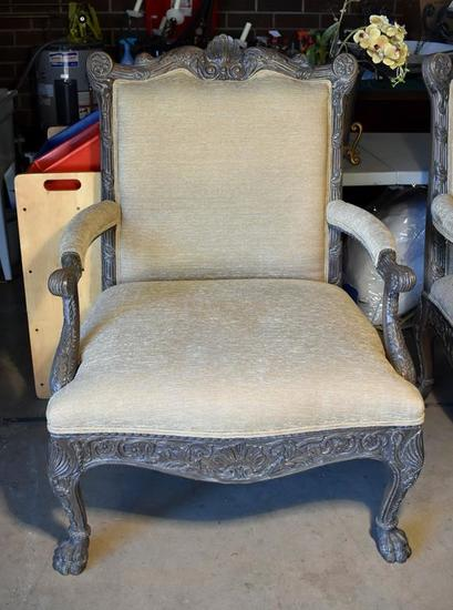 Contemporary Oversized Paw Footed Chair & Half, Neutral Upholstery, Lots 19 & 20 Match