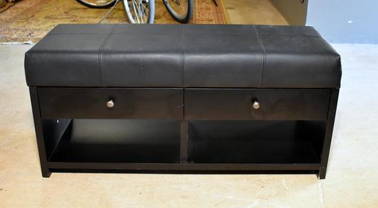 Black Bonded Leather Top Bench with Storage / 2 Drawers Underneath