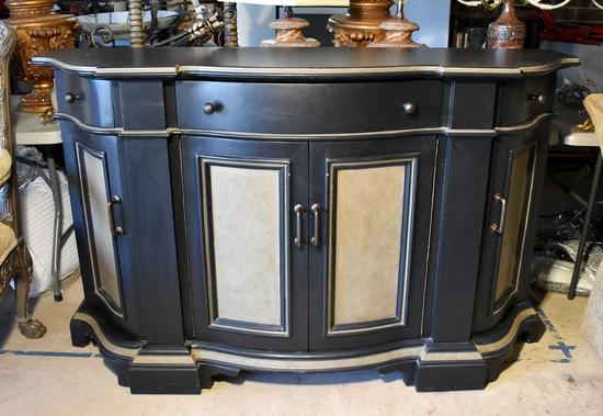 Black Contemporary Sideboard / Console with Tan Trim & Panels