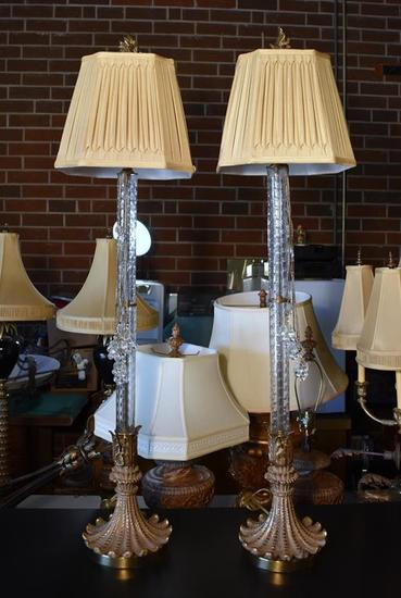 Pair of Elegant Art Glass Candlestick Form Sideboard Lamps