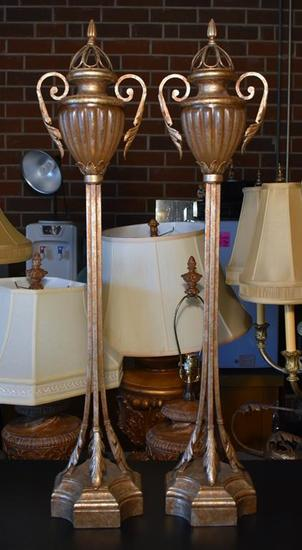 Pair of Fine Torchiere Lamps with Antiqued Gilt Finish