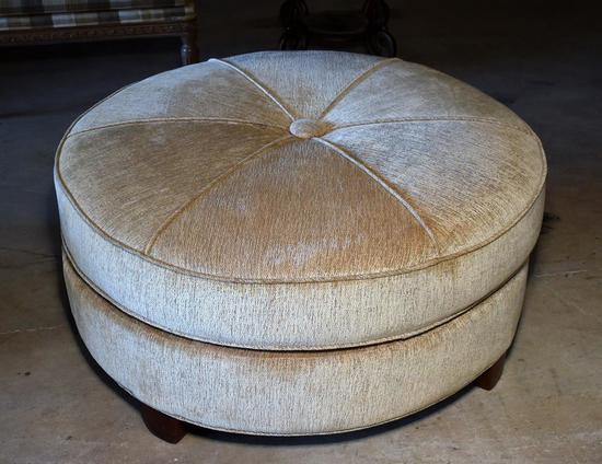 Large Sage Plush Upholstered Round Ottoman