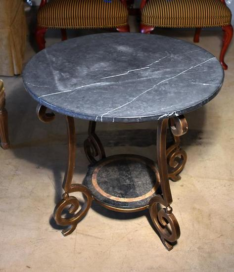 Black Slate Top Round Table with Slate Shelf at Bottom, Metal Frame with Antiqued Gilt Finish