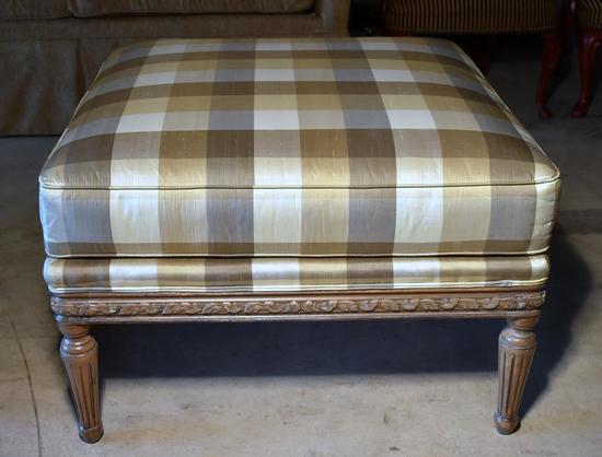 Large Contemporary Plaid Upholstered Ottoman with Reeded Legs