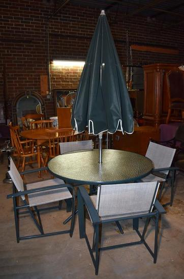 Brown Jordan Metal and Glass Top Patio Table with Matching Chairs and Umbrella