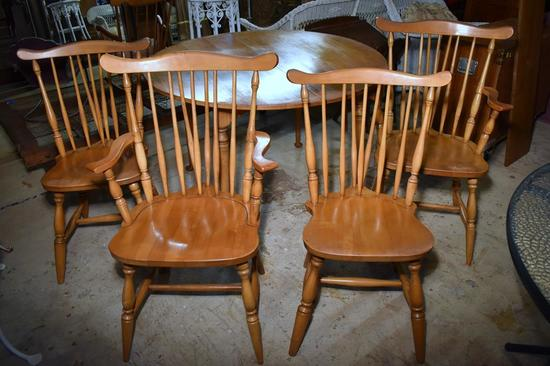 Set of 4 Vintage Maple Windsor Dining Chairs with Brace Back