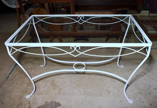 Vintage White Enameled Wrought Iron Patio Dining Table with Glass Top