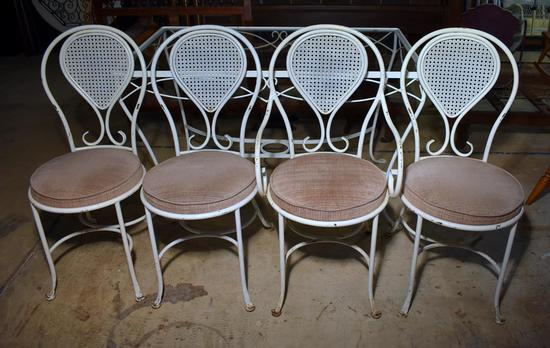 Vintage White Enameled Wrought Iron Chairs with Seat Cushions