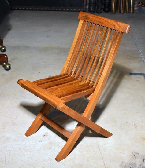 Frank Lloyd Wright Style Wooden Folding Child's Chair, Lots 19 & 20 Match