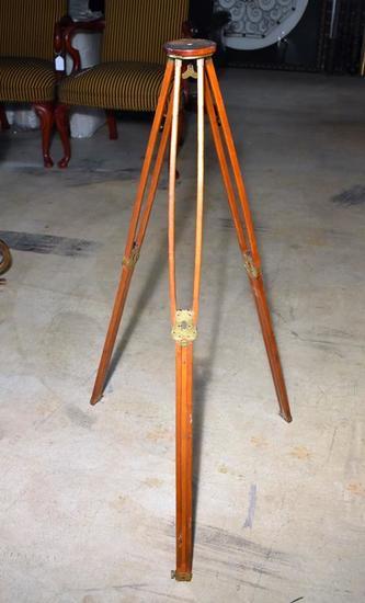 Antique Surveyor's Folding Transit Wooden Tripod Stand, Brass Hardware