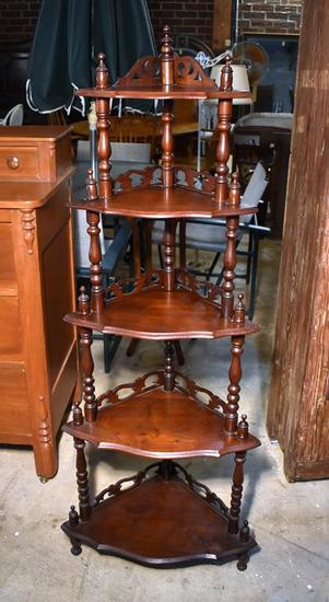 Antique Victorian Style Five Shelf Corner Stand or Small Etagere