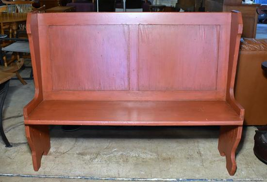 Old Red Painted Wooden High Back Bench or Chapel Pew