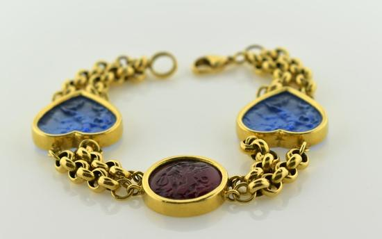 """18K Yellow Gold and Textured Glass Hearts Bracelet, 7.25"""""""