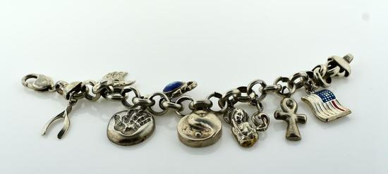 Heavy Sterling Silver Charm Bracelet with 9 Charms, 7.5""