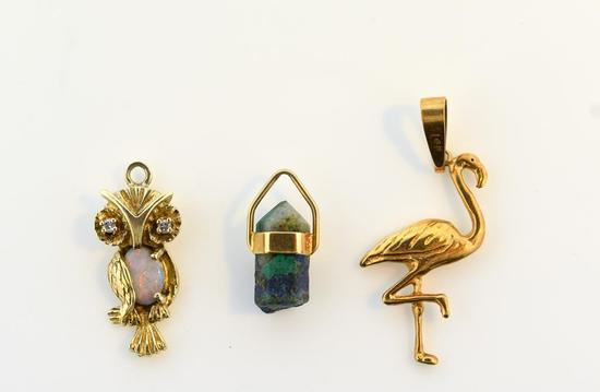 Lot of Three 14K Yellow Gold Charms: Flamingo, Owl, Stone