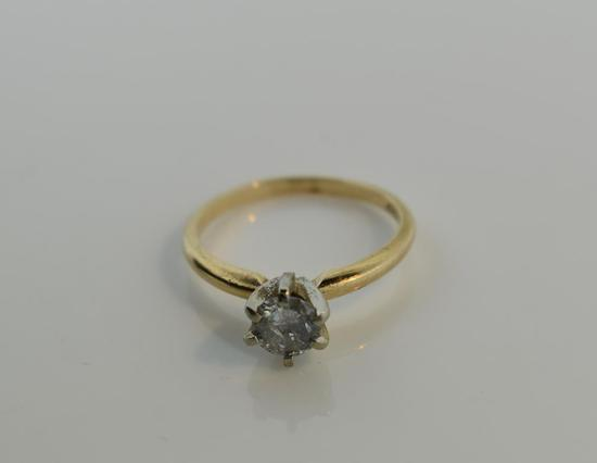 0.5 Carat Round Brilliant Diamond Solitaire & 14K Yellow Gold Ring, Size 6.25
