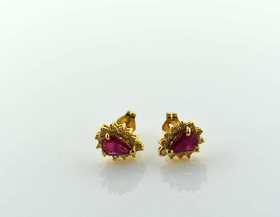 Pair of Teardrop Natural Ruby and Diamond 14K Yellow Gold Earrings